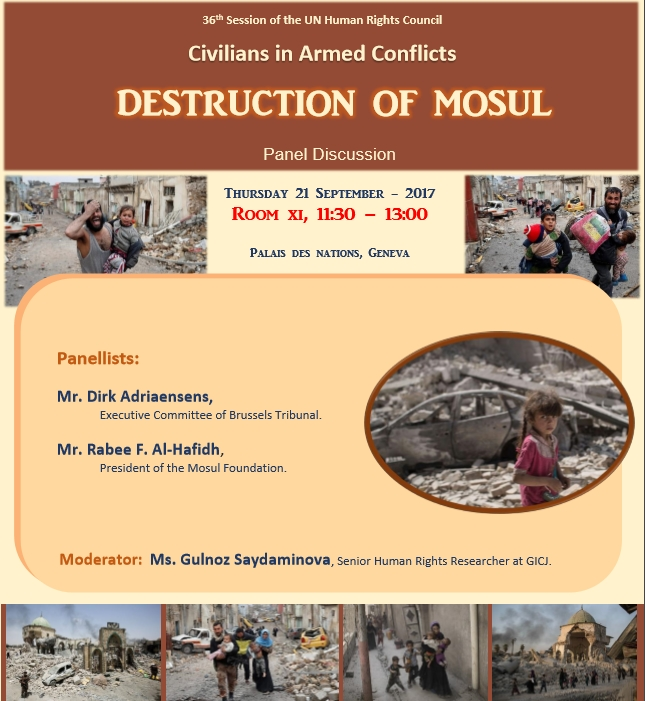 "Human Rights Council Side-event - ""Destruction of Mosul: Civilians in Armed Conflict"" - 21 Sept. 2017"