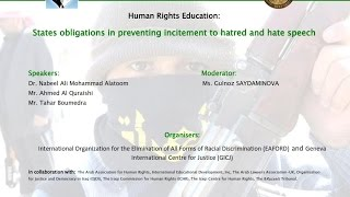 Human Rights Education - States obligations in preventing incitement to hatred and hate speech