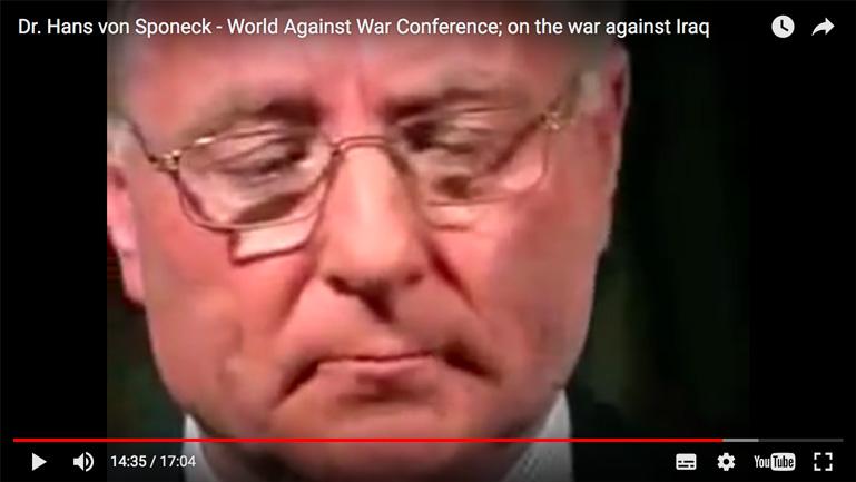 الدكتور هانز فون سبونيك - مؤتمر مناهضة الحرب - عن الحرب ضد العراق