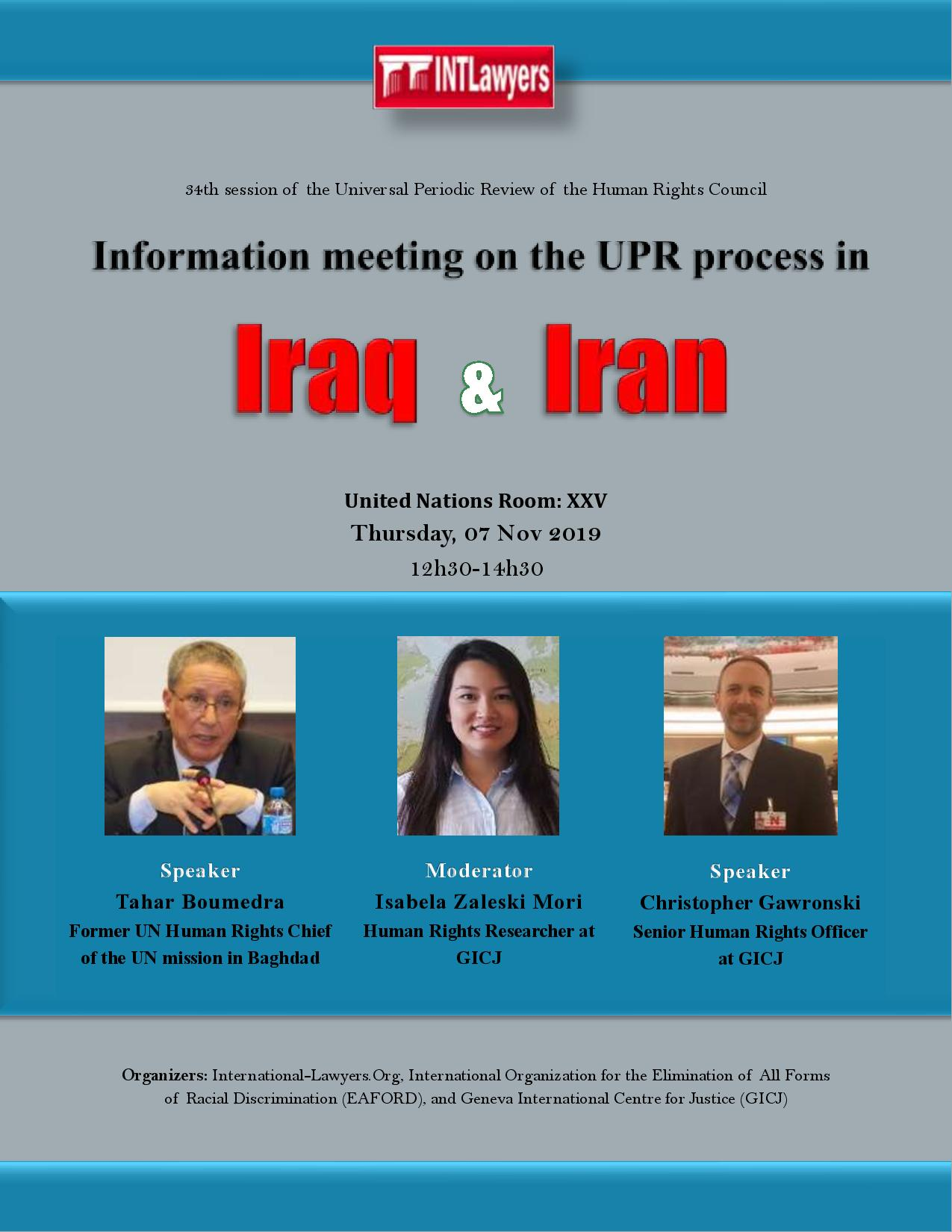 Information meeting on the UPR process in Iraq & Iran - 34th Session of the UPR